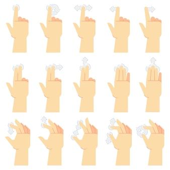 Touch screen gebaren. vinger tik, veeg gebaar en met de hand aangeraakte smartphoneschermen. touch ui cartoon vector iconen set