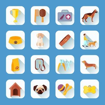 Touch screen knoppen apps huisdieren honden en accessoires plat pictogrammen collectie lichte schaduw abstracte vector geïsoleerde illustratie