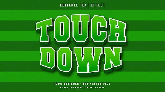 Touchdown 3d-tekenfilmspel voor sport bewerkbare teksteffectsjabloon