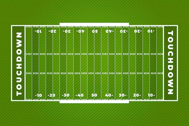 Touchdown amerikaans voetbal veld plat ontwerp