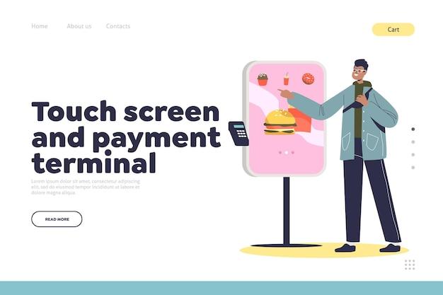 Touchscreen-terminal voor zelf bestellen op de bestemmingspagina van het café