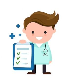 Toung schattig gelukkig lachend arts met klembord, checklist. vector moderne vlakke stijl stripfiguur