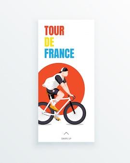 Tour de france herenfietsfiets race verhaalsjabloon voor meerdere fasen met jonge wielrenner op rode cirkel achtergrond. sportwedstrijden en buitenactiviteiten. sportkleding en uitrusting.