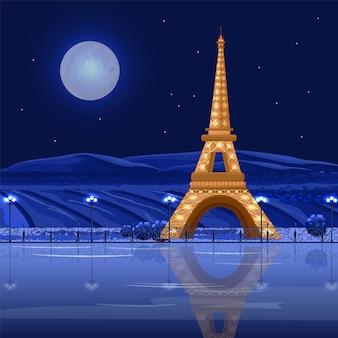 Tour eiffel parijs 's nachts