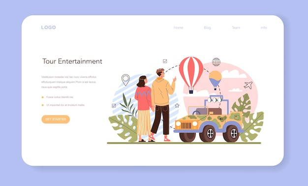 Tour entertainment webbanner of bestemmingspagina idee van toerisme