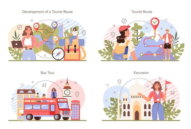 Tourgidsconcept stelt toeristen in die naar de geschiedenis van de stad luisteren