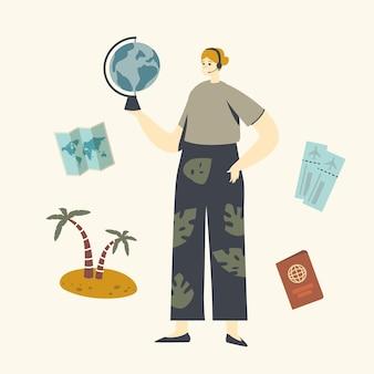 Touroperator vrouwelijk personage, reisbureau agent met headset met globe in handen op zoek naar een warme aanbieding voor een voorstel aan klanten