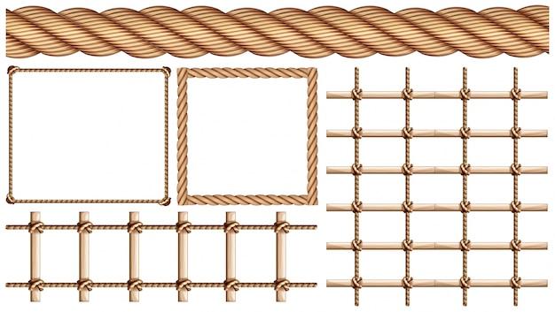 Touw en veel toepassingen van touwillustratie