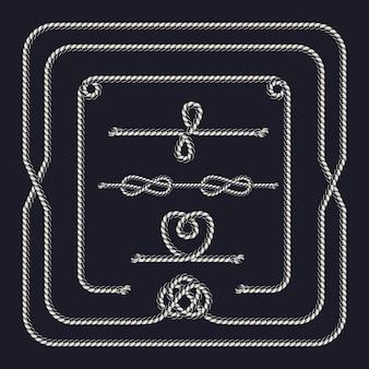Touw patroonborstel samenstelling met frame en verschillende knopen in zwart-wit stijl geïsoleerd