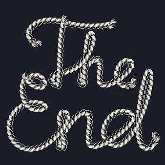 Touw patroonpenseel met the end inscriptie geïsoleerd op donkere ondergrond