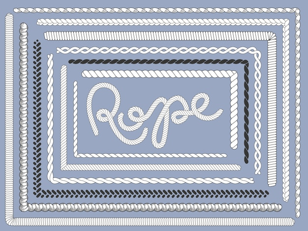 Touwborstel. mariene touwen, gevlochten string vlecht textuur breien touw borstels geïsoleerde set