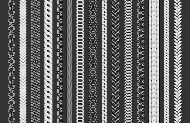 Touwborstels frame, decoratieve zwarte lijnenset. de borstels van het kettingpatroon geplaatst gevlochten die kabel op zwarte achtergrond wordt geïsoleerd. dikke koord- of draadelementen.