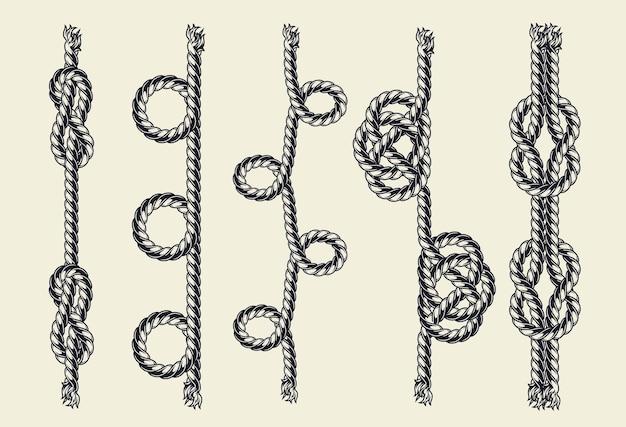 Touwen met verschillende knopen geïsoleerd