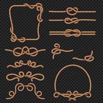 Touwrand en kaders met knopen mariene ontwerpelementen. touw en koord sterk