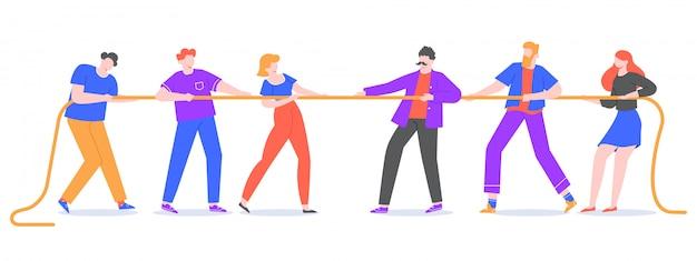 Touwtrekken. jongeren trekken aan het touw, tegenovergestelde teams bij touwtrekken. bedrijfscompetities en actieve sleepbootspelillustratie. concurrentenpersonages worstelen