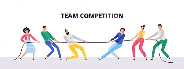 Touwtrekken. mensen teams trekken aan het touw, kantoormedewerkers concurreren en touwtrekken concurrentie illustratie