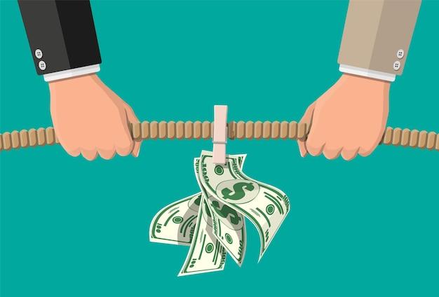 Touwtrekken. twee zakenlieden trekken touw tegen elkaar voor geld. zakelijk doel, rivaliteit, concurrentie, conflict. prestatie, doel en succes. vectorillustratie in vlakke stijl