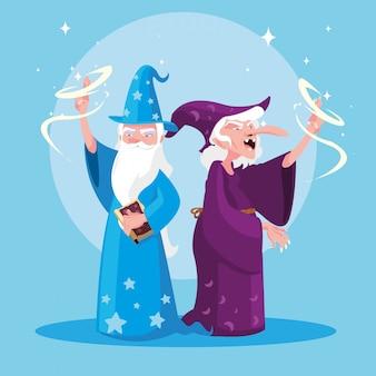 Tovenaar met heks van sprookjesachtige avatar karakter