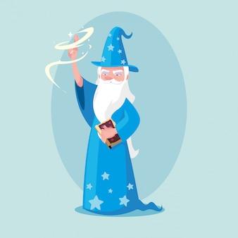 Tovenaar met hoed van sprookjesachtige avatar karakter