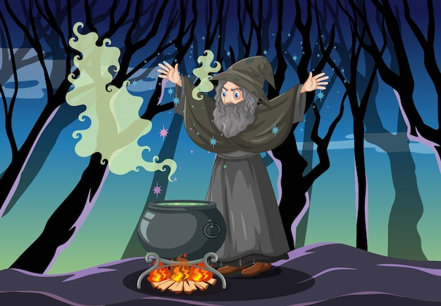 Tovenaar met zwarte magische pot cartoon stijl op donker bos