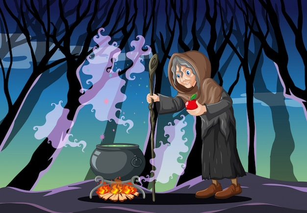 Tovenaar met zwarte magische pot cartoon stijl op donkere bos achtergrond