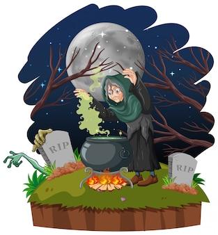 Tovenaar of heks met magische pot en graf op donker bos dat op witte achtergrond wordt geïsoleerd