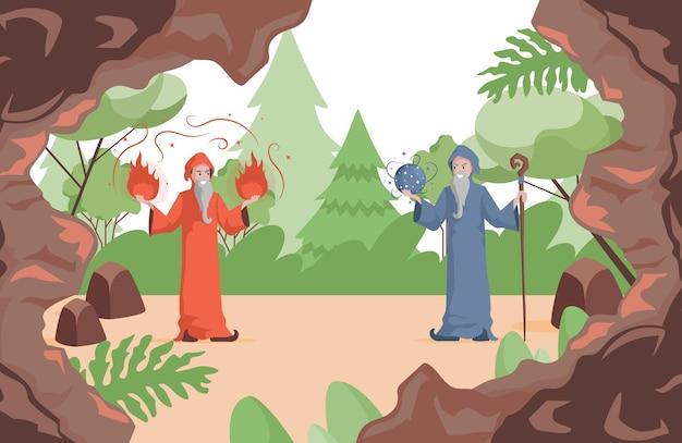 Tovenaars die zich voorbereiden om vector vlakke illustratie oude heksenmannen te bestrijden