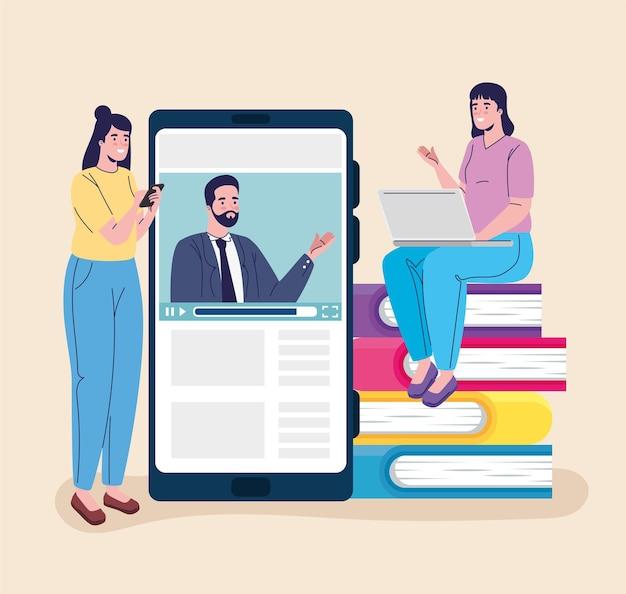 Tow meisjesstudenten en leraar die het ontwerp van de online onderwijsillustratie verbinden