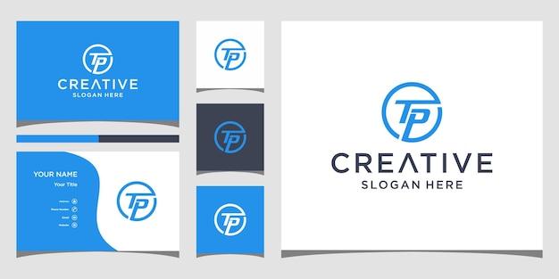 Tp-logo-ontwerp met visitekaartjesjabloon