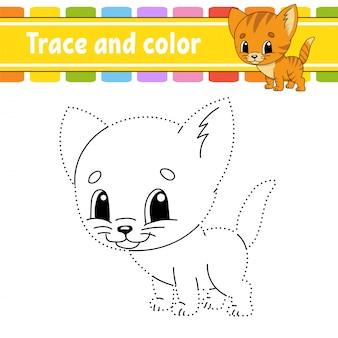 Trace en kleur. kat dier. kleurplaat voor kinderen. handschrift praktijk. onderwijs ontwikkelt werkblad.