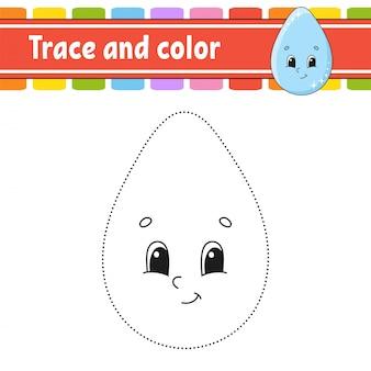 Trace en kleur. kleurplaat voor kinderen. handschrift praktijk.