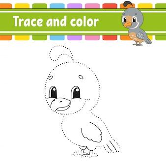 Trace en kleur. kwartel vogel. kleurplaat voor kinderen. handschrift praktijk.