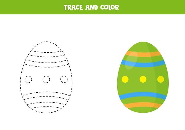 Trace en kleur paasei educatief spel voor kinderen