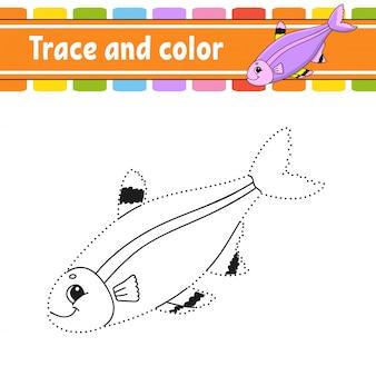 Trace en kleur. vis. kleurplaat voor kinderen. handschrift praktijk. onderwijs ontwikkelt werkblad.