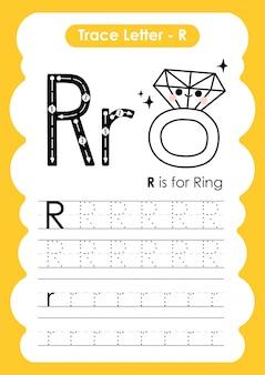 Trace letter alphabet r-oefening met de illustratie van de beeldverhaalwoordenschat