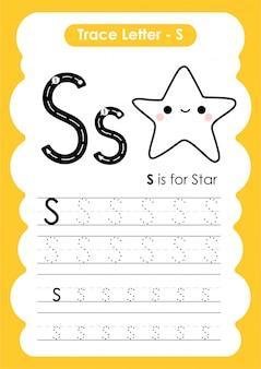Trace letter alphabet s-oefening met de illustratie van de beeldverhaalwoordenschat