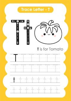 Trace letter alphabet t-oefening met cartoon woordenschat illustratie