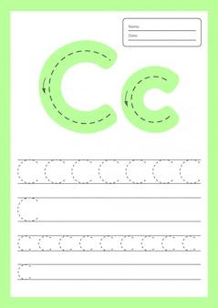 Trace letters werkblad a4 voor kinderen voorschoolse en schoolgaande leeftijd.