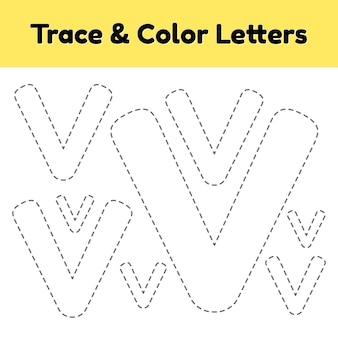 Trace-lijnbrief voor kleuters en kleuters. schrijf en kleur v.