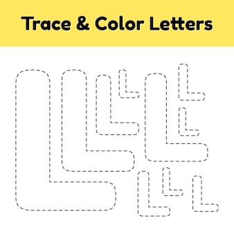 Trace-lijnbrief voor kleuters en kleuters. schrijf en kleur.