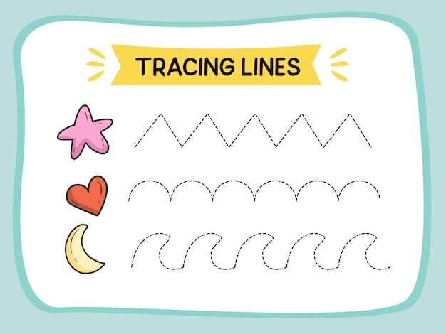 Trace line werkblad voor het leren van illustratieboek kinderen Premium Vector