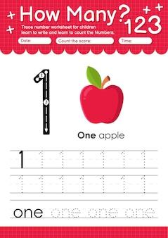 Trace nummer 0 werkblad voor kleuters en kleuters met fruit en groenten appel