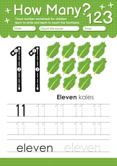 Trace nummer 11 werkblad voor kleuters en kleuters met groenten en fruit boerenkool