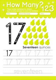 Trace nummer 17 werkblad voor kleuters en kleuters met fruit en groente kweepeer