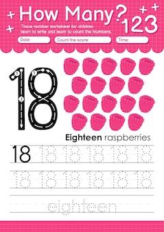 Trace nummer 18 werkblad voor kleuters en kleuters met fruit en groenten framboos