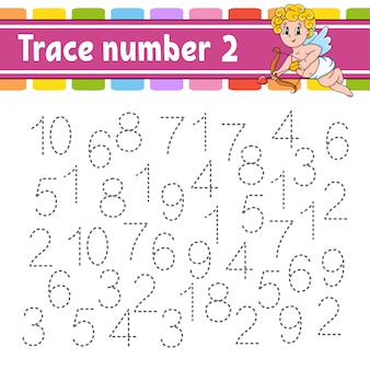 Trace nummer. handschrift praktijk. leren cijfers voor kinderen. onderwijs ontwikkelt werkblad.
