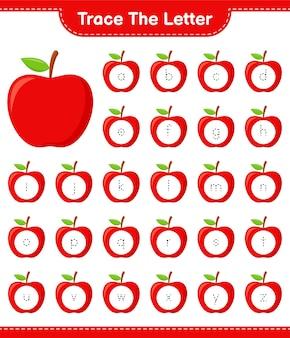 Traceer de brief. tracing brief met apple. educatief kinderspel, afdrukbaar werkblad