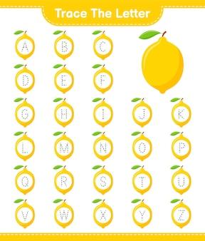 Traceer de brief. tracing brief met citroen. educatief kinderspel, afdrukbaar werkblad
