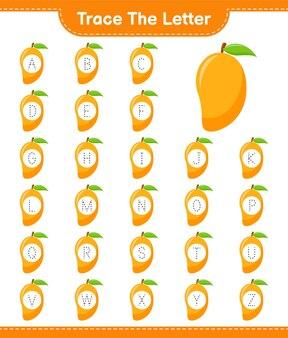 Traceer de brief. tracing brief met mango. educatief kinderspel, afdrukbaar werkblad