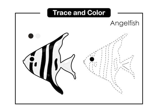 Traceer en kleur bakhandschoen educatief spel voor kinderen angelfish